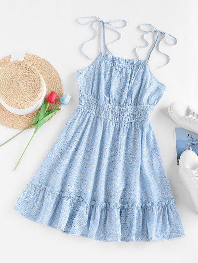 ZAFUL Tiny Flower Print Smocked Flounce Dress - Light Blue S