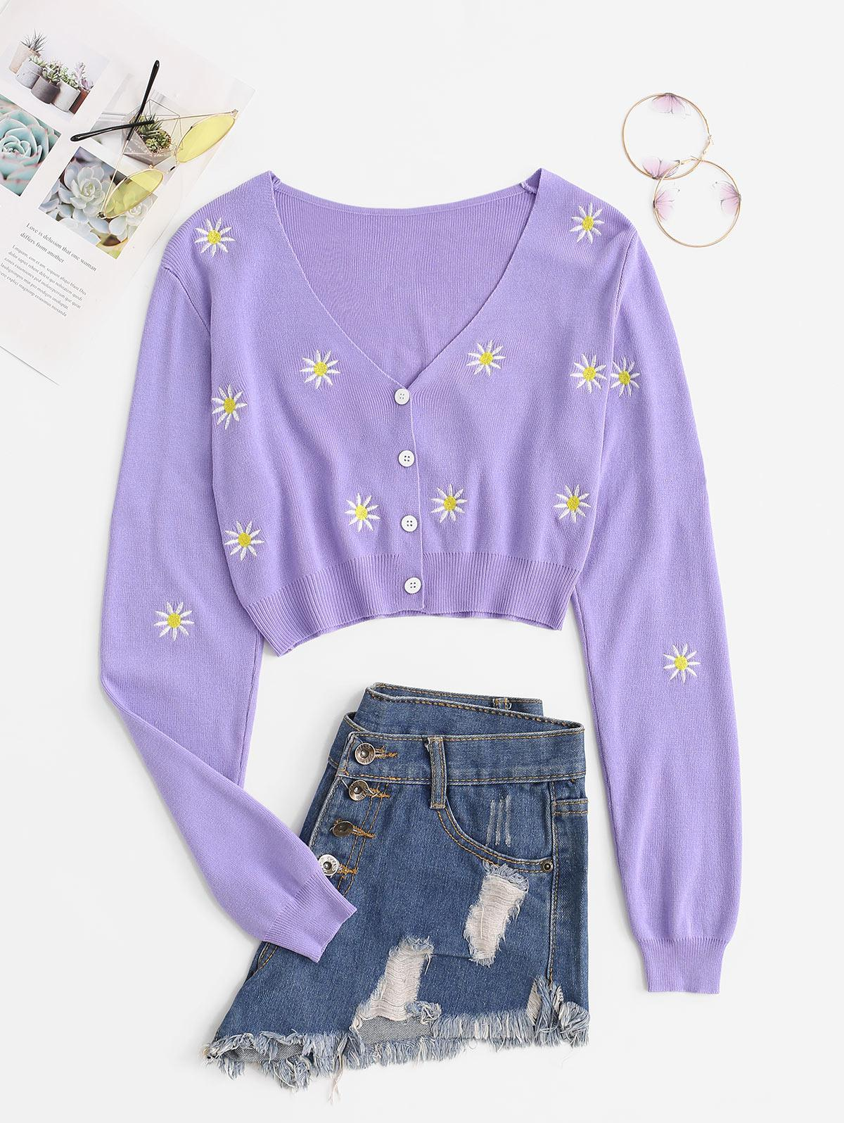 Button Up Floral Embroidered Cropped Cardigan