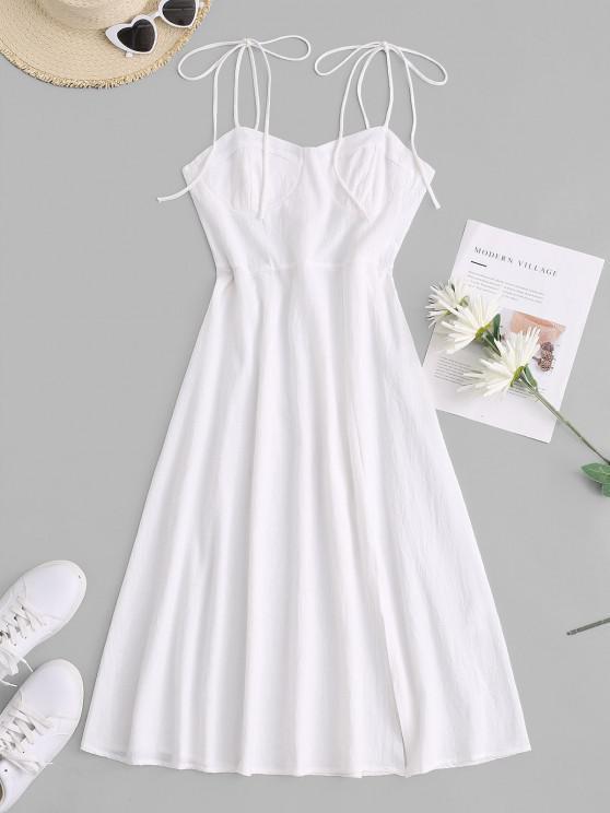 online Tie Shoulder Shirred Back Split Hem Bustier Dress - WHITE XL