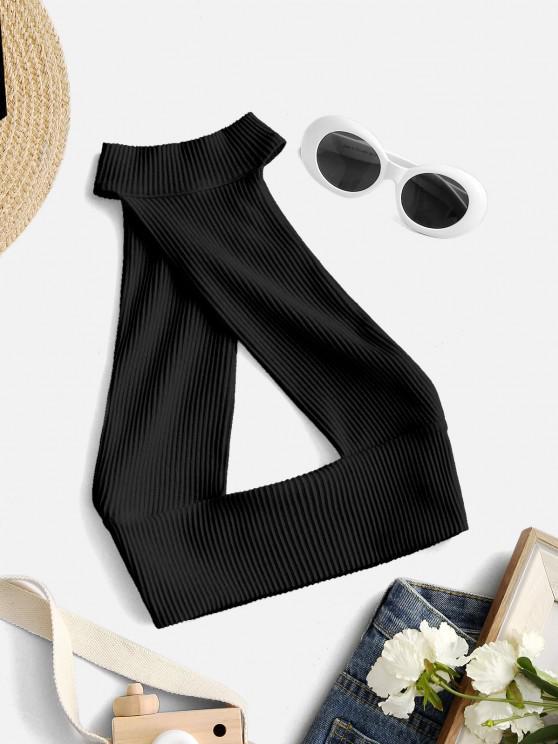 fancy Halter Rib-knit Cutout Backless Crop Top - BLACK S