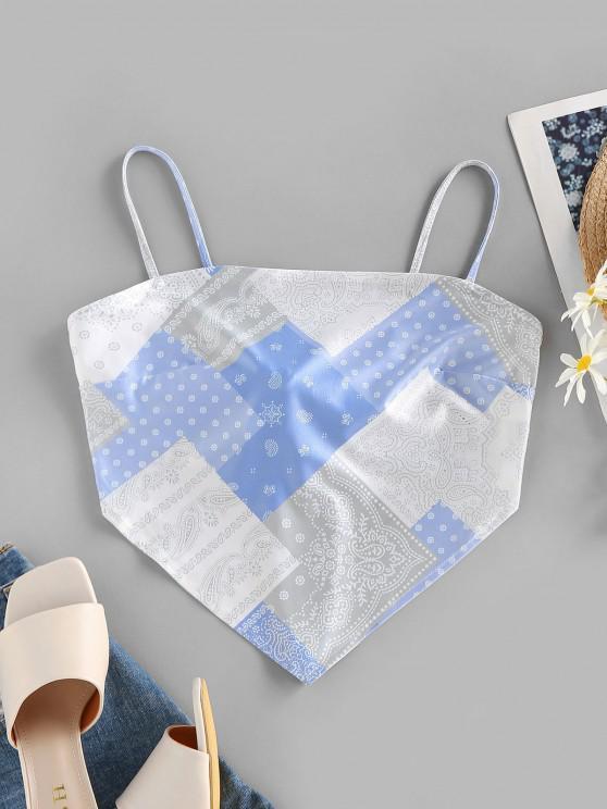 ZAFUL Haut à Bretelle Noué Au Dos Cachemire Imprimé Style Bohémien - Bleu clair M