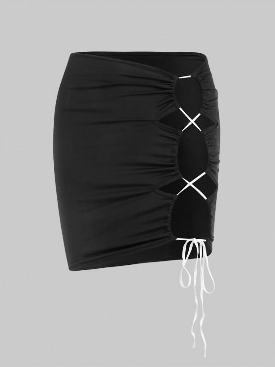 women's Contrast Lace-up Cutout Mini Skirt - BLACK S