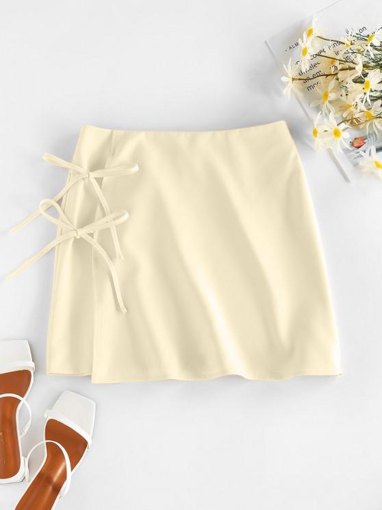 women's ZAFUL Tie Side Mini Skirt - LIGHT YELLOW S