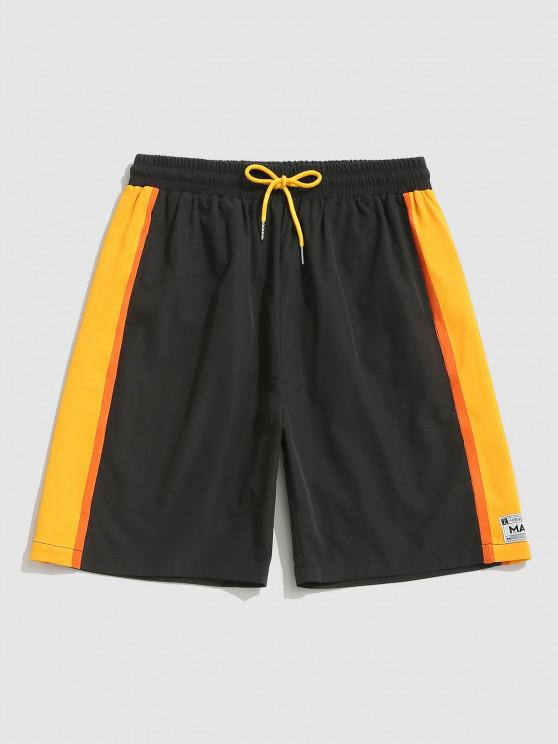 fashion Drawstring Applique Detail Striped Sports Shorts - BLACK 2XL