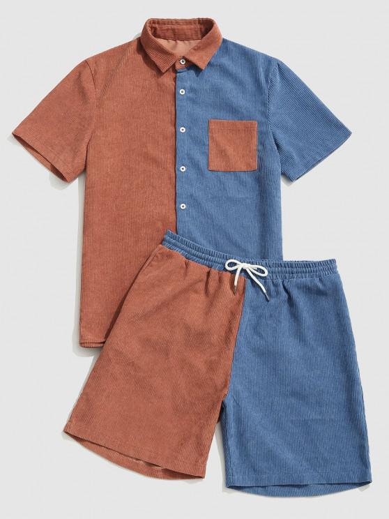 fancy Color Block Pocket Corduroy Shirt and Shorts Set - BLUE XL