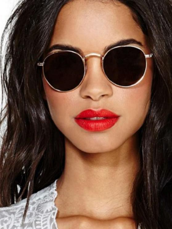 women Classic Round Metal Sunglasses - DARK SLATE GREY