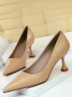 Pointed Toe Solid High Heel Shoes - Khaki Eu 40