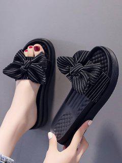 Striped Bowknot Platform Slippers - Black Eu 37