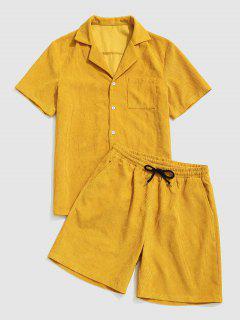 Button Up Pocket Corduroy Shirt And Shorts Set - Yellow L