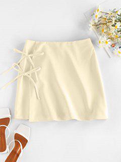 ZAFUL Tie Side Mini Skirt - Light Yellow S