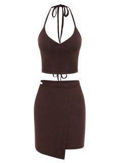 Halter Tie Wrap Midriff Flossing Two Piece Dress - Deep Coffee S