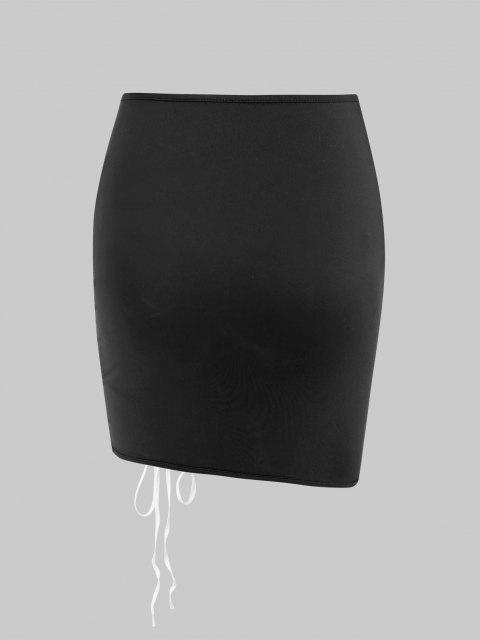 Mini Falda con Puntilla Ahuecada en Contraste - Negro M Mobile