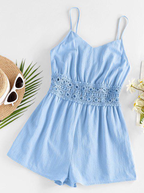 women ZAFUL Cami Crochet Insert Wide Leg Romper - LIGHT BLUE M Mobile