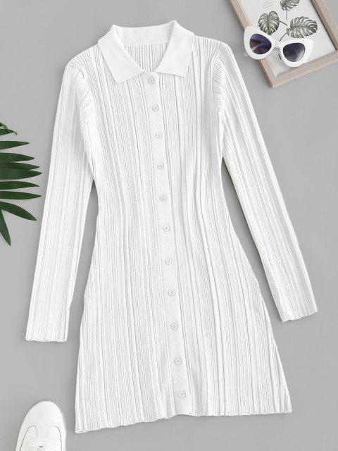 Vestido Jersey Al Cuerpo Abotonado - Blanco S Mobile