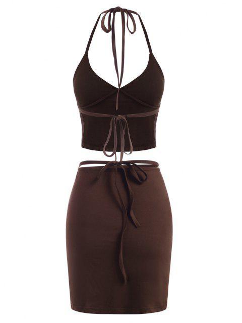Vestido Envuelto de Dos Piezas con Nudo en Espalda - Café Profundo S Mobile