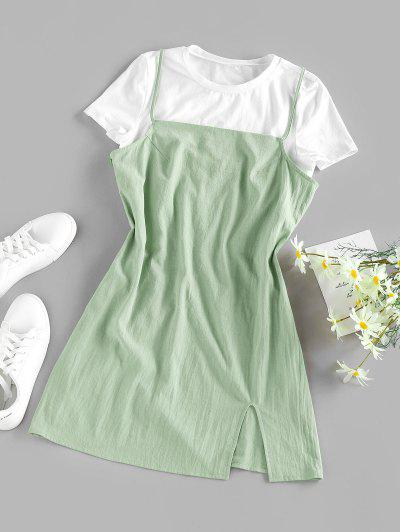 ZAFUL Slit Cami Mini Dress With T-shirt Set - Light Green S