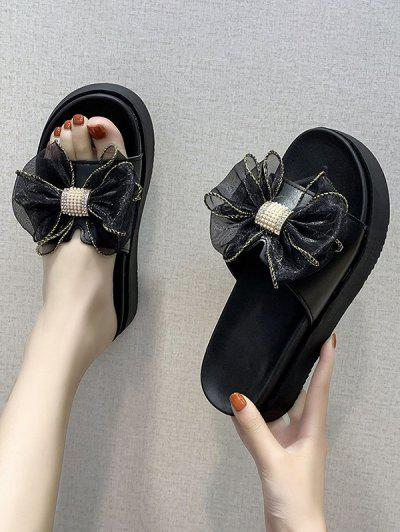 Gauze Bowknot Platform Slippers - Black Eu 37