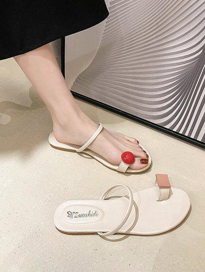 Toe Ring Asymmetrical Flat Slides Sandals - Warm White Eu 37