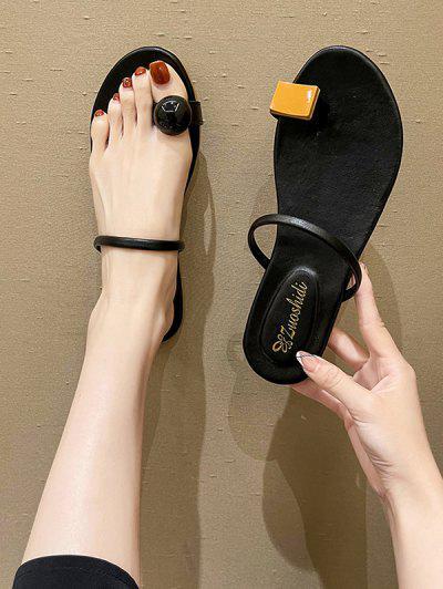 Toe Ring Asymmetrical Flat Slides Sandals - Black Eu 40