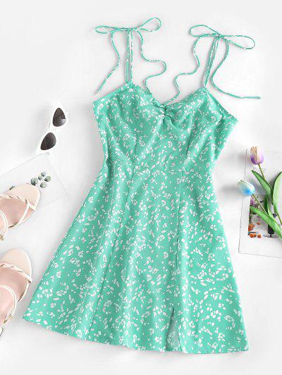 ZAFUL Ditsy Print Tied Shoulder Cami Slit Dress - Light Green M