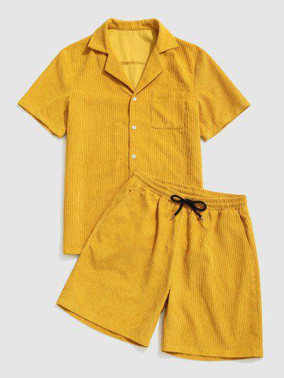 Button Up Pocket Corduroy Shirt And Shorts Set - Yellow M