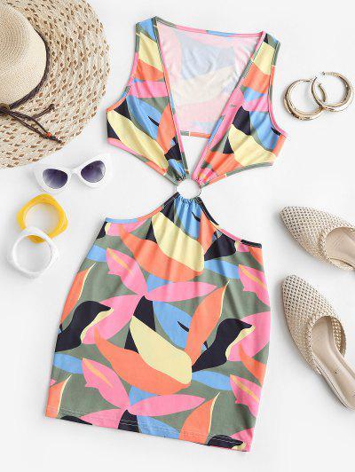 Colorblock O Ring Cutout Bodycon Dress - Multi S