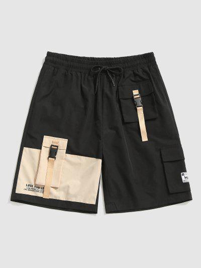 Shorts De Carga De Estampado De Letras Con Color Bloque - Negro S