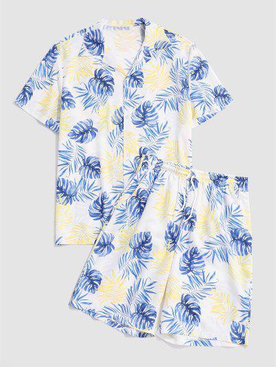 Tropical Leaves Print Shirt And Shorts Set - Corn Yellow Xxl