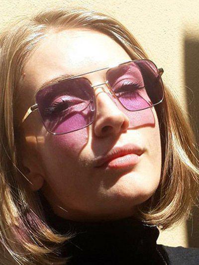 Crossbar Square Metal Sunglasses - Mauve