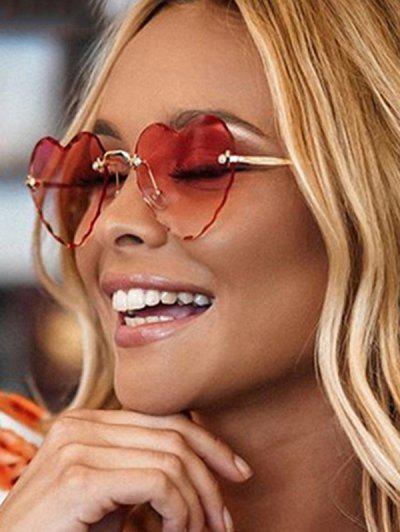 Heart Shape Rimless Cut Edge Sunglasses - Red Wine