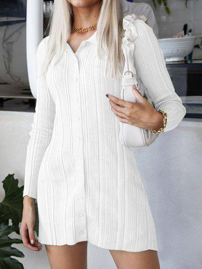 Button Up Ribbed Bodycon Sweater Dress - White S