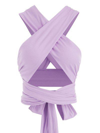 Tie Back Criss Cross Wrap Crop Top - Light Purple