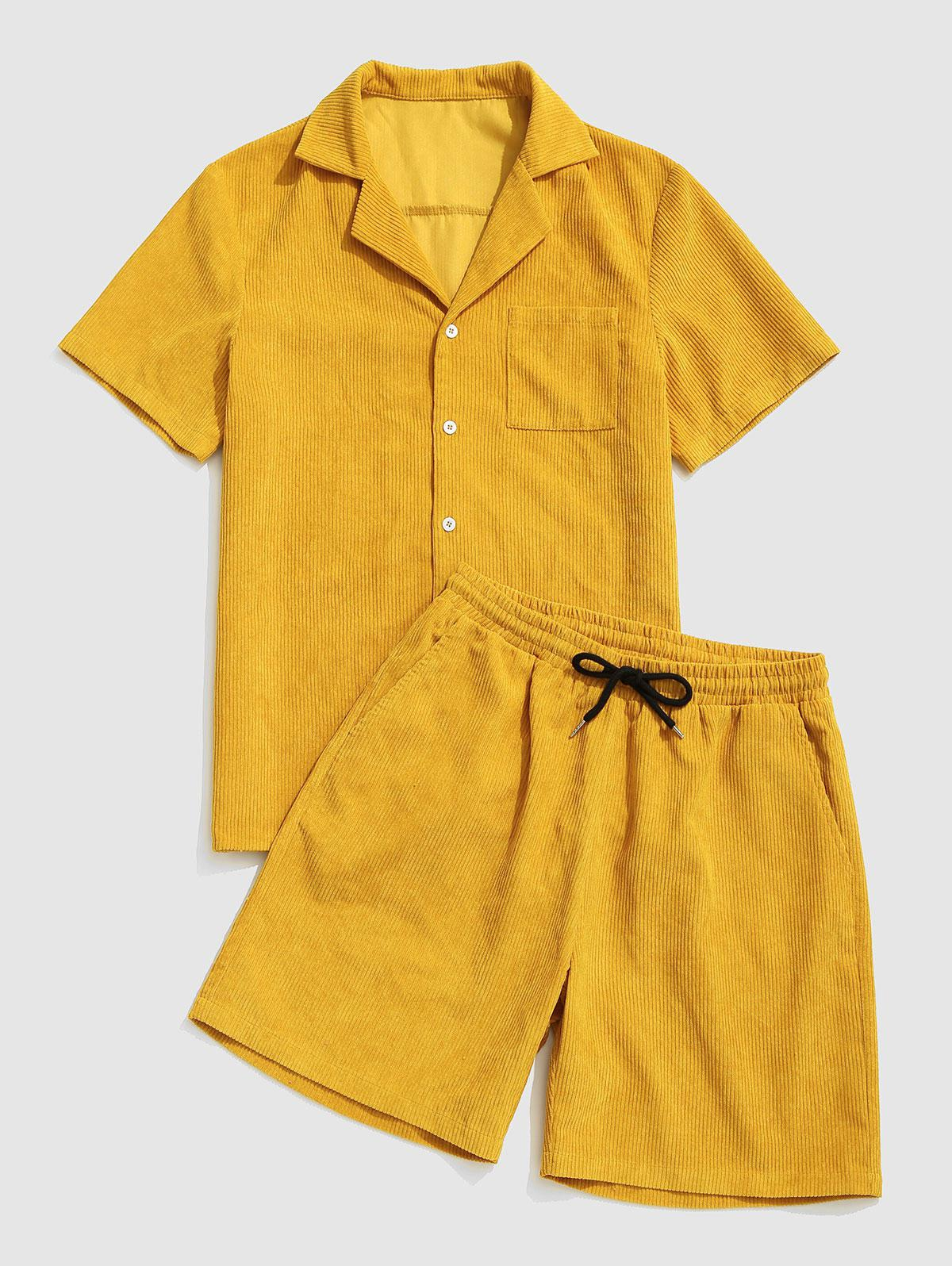 Button Up Pocket Corduroy Shirt and Shorts Set