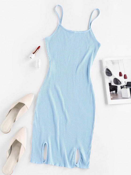 fancy ZAFUL Ribbed Slit Bodycon Cami Dress - LIGHT BLUE S