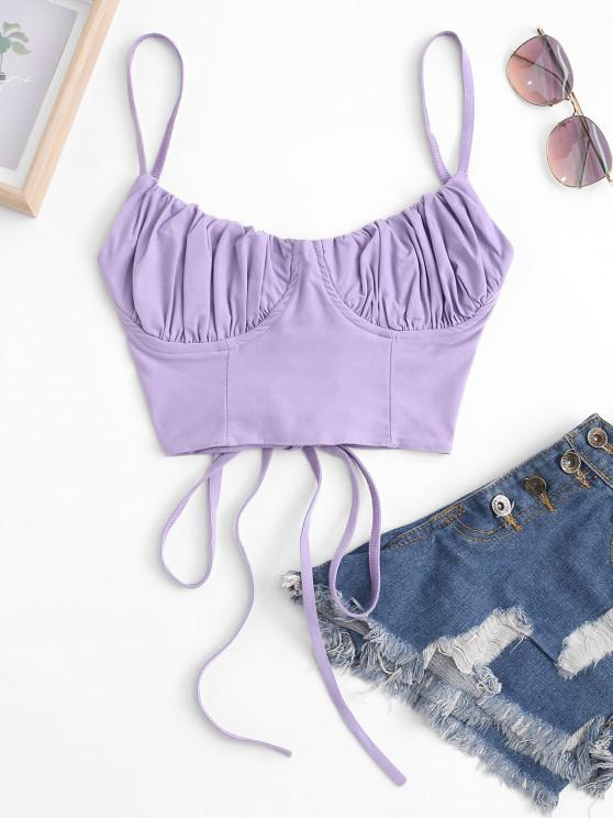 fashion Ruched Lace-up Bustier Cami Top - LIGHT PURPLE S
