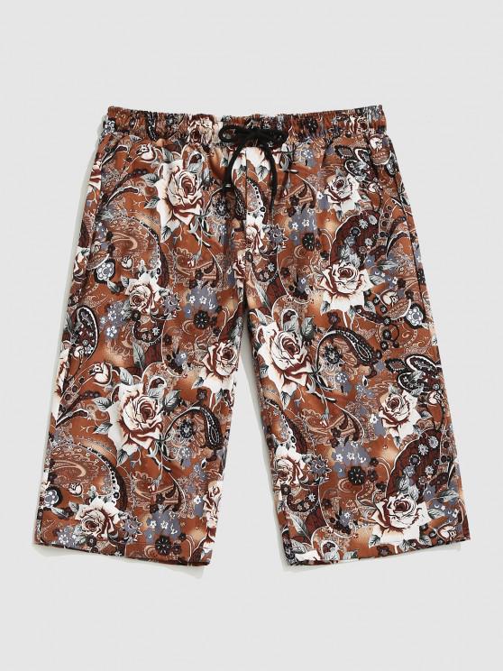shop Tropical Plant Print Beach Shorts - COFFEE S
