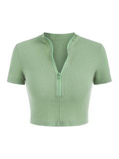 Rib-knit Quarter Zip Crop Top - Green M
