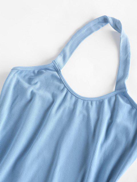 ZAFUL Bodycon Geripptes Rückenfreies Kleid - Hellblau M Mobile