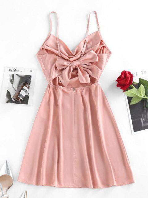 ZAFUL Bowknot Drapiertes Satin A Linie Kleid - Hell-Pink S Mobile