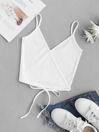 Ribbed Straps Wrap Crop Cami Top - White S