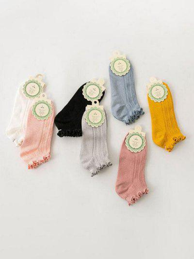 7 Pairs Lettuce Trim Breathable Ankle Socks - Multi-a