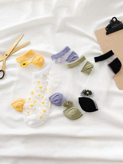 5 Pairs Daisy Sheer Silk Ankle Socks - Multi-a