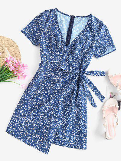 ZAFUL Ditsy Floral Asymmetric Bowknot Dress - Blue S