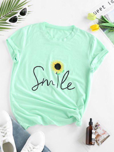 ZAFUL Camiseta Con Estampado De Smile Con Mangas Cortas - Verde Claro M