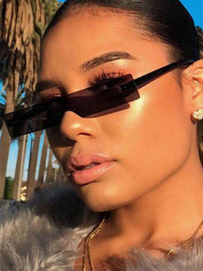 Narrow One-piece Rimless Sunglasses - Black