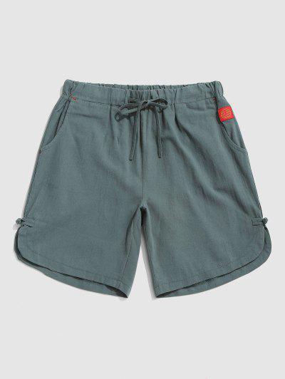 Applique Detail Frog Knot Slit Casual Shorts - Light Green Xxl