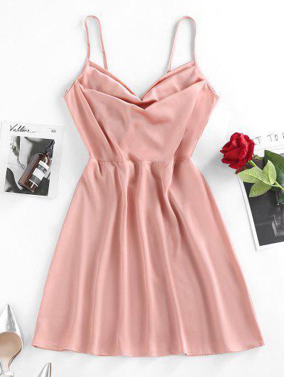 ZAFUL Bowknot Draped Satin A Line Slip Dress - Light Pink M