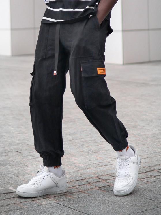 Flap Pockets Patch Cargo Pants - أسود M