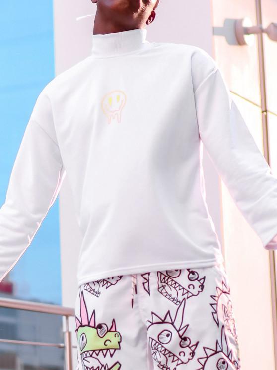 women Happy Face Flower Print Drop Shoulder Sweatshirt - WHITE M