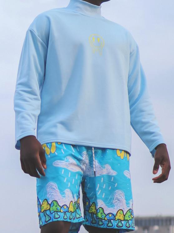 Happy Face Flower Print Drop Shoulder Sweatshirt - أزرق فاتح 2XL